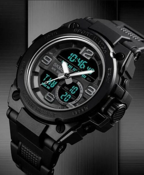 SKMEI 1452 Sports 5Bar Waterproof Watches – Black