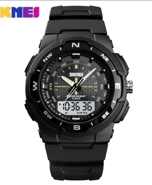 SKMEI 1454 Anti Shock 5Bar Waterproof Watches – Black