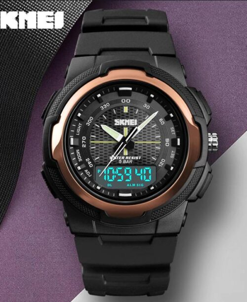 SKMEI 1454 Anti Shock 5Bar Waterproof Watches – Rose Gold