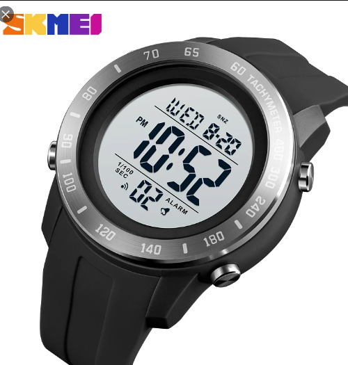 SKMEI 1524 Sports Digital Square Watch – Black White