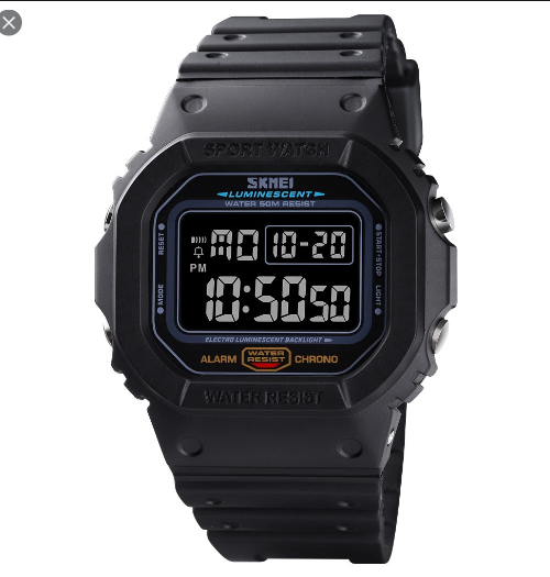 SKMEI 1554 Sports Digital Square Watch – Black