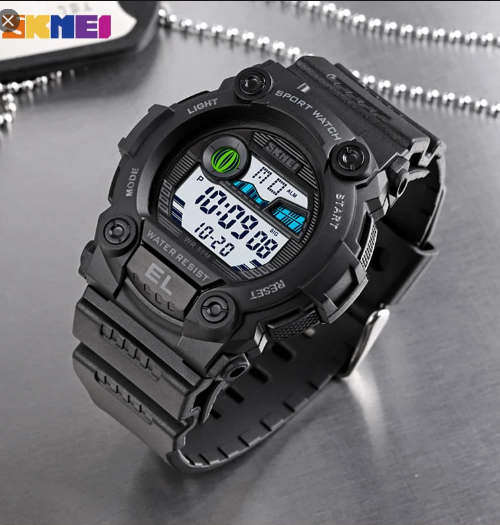 SKMEI 1633 Sports Digital Square Watch – Black