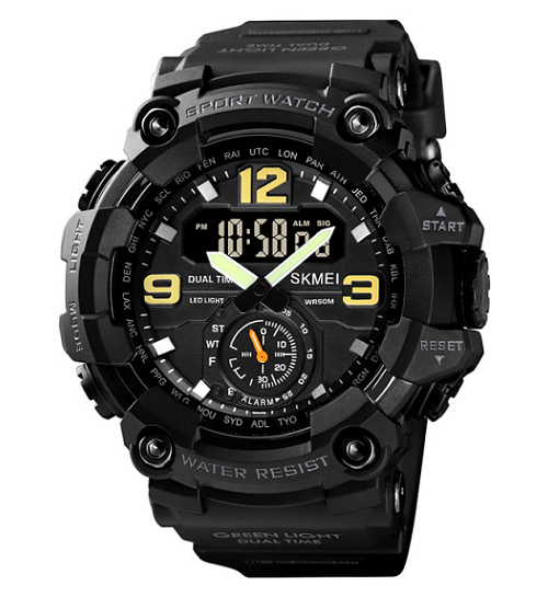 SKMEI 1637 Analog Digital 5Bar Waterproof Watch – Black