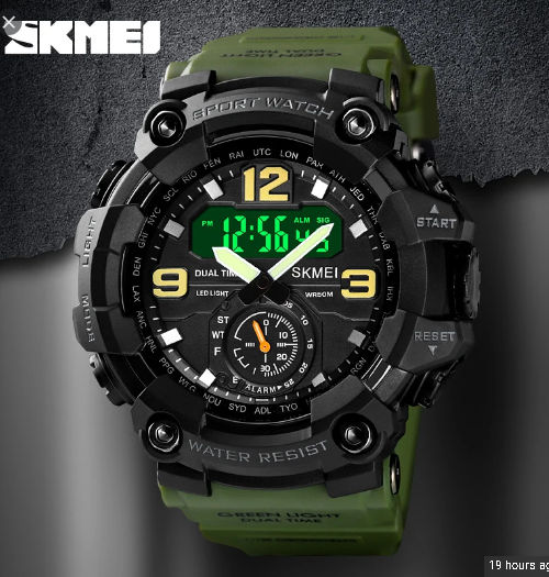 SKMEI 1637 Analog Digital 5Bar Waterproof Watch – Green